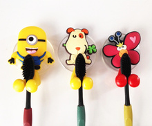 Cute minion Hello Kitty Cartoon suction cup toothbrush holder hooks bathroom set accessories Eco-Friendly(China)