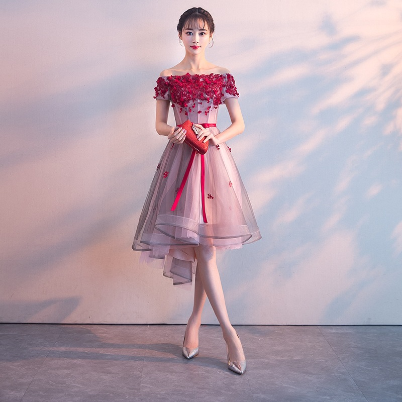 Candy Color Asymmetrical Evening Dress Short Front Long Back Lace Satin Dress Elegant Formal Party Dress Evening Gowns(China)