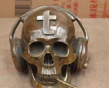 Folk Chinese Bronze human skeleton death's-Head Skull Head Earphone Art Statue