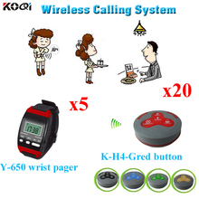 Wireless Waiter Pager System For Restaurant,Hospitals,Cafe Shop, 20pcs Table Call Button And 5 pc Wrist Watch Reciever(China)