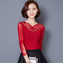Blusas Femininas Shirts Women Blouses Gauze Hot Drilling 2016 Spring Women's Tops V-Neck Lace Blouse Lady Tops  Pink Red Black