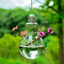 2017 Hot Clear Light Bulb Shape Glass Hanging Vase Bottle Terrarium Hydroponic Container Flower DIY Home Wedding Decor