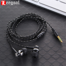 Leegoal subwoofer earphone super bass in ear earphone head phone Rope Cloth Noise canceling Earphone For MP3 MP4 Smartphone