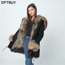 OFTBUY 2017new parkas winter jacket women winter coat women parka real fur coat natural big raccoon fur collar fox fur liner(China)