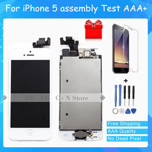 Grade AAA Full Set Touch Screen Digitizer LCD Display Repair Assembly Replacement for iPhone 5 LCD Display +Tempered glass+Tools