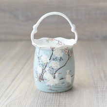 Boutique European Hand Painted White Crane Bone China Tableware Accessories Kitchen Supplies Fruit Basket Furniture Decoration(China)