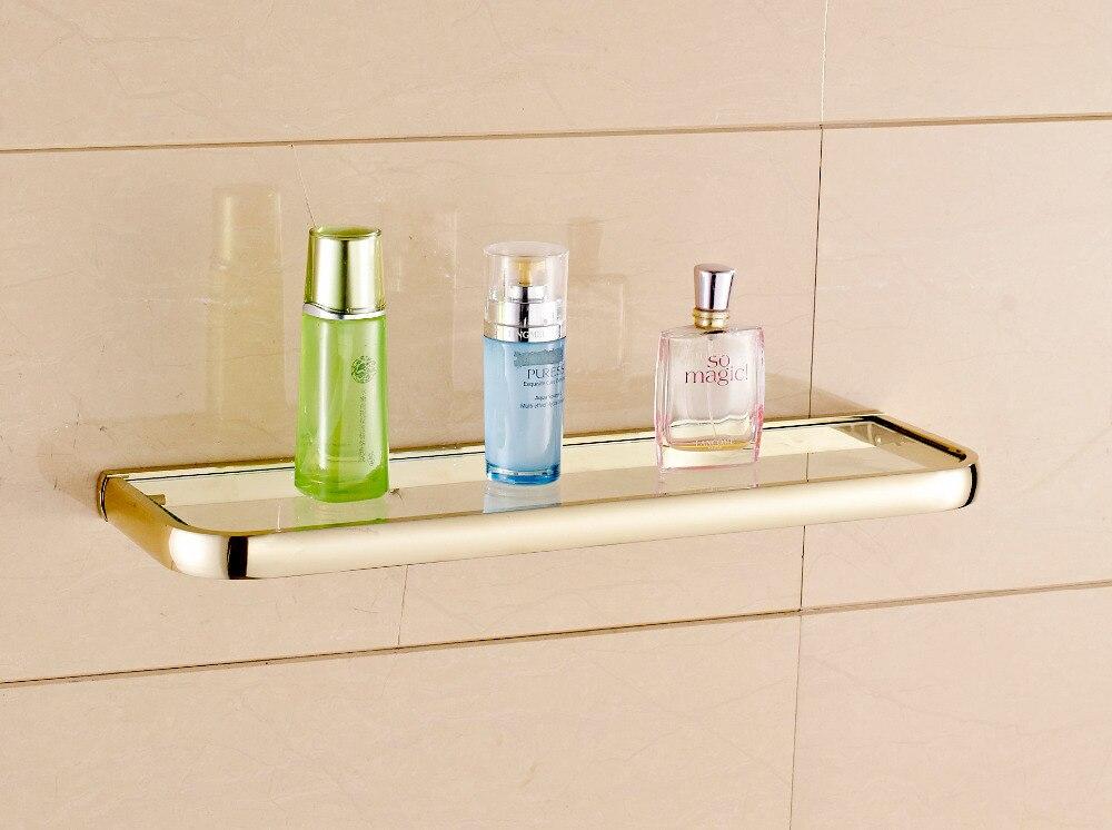 Modern Fashion Golden Bathroom Glass Shelf Shower Caddy Cosmetic Storage Holder<br><br>Aliexpress