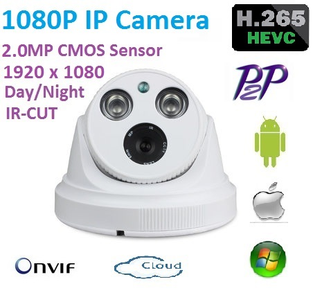 New type 2.4Megapixel 1920x1080 H.265 IP camera 1080p ONVIF P2P indoor network camera  with ir-cut day/night easy plug and play<br>
