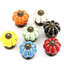 Europe style Ceramic Pumpkins kitchen Cabinet Door Knobs Cupboard Handles Pull Drawer 40mm furniture accessories 10PCS(China)