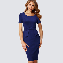 Buy Elegant Women Ruched Drap Wear Work Office Business Dress Formal Summer Short Sleeve Sheath Fitted Bodycon Pencil Dress HB426 for $18.35 in AliExpress store