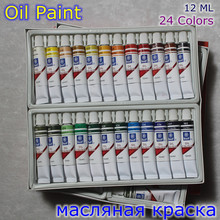 Professional Brand Oil Paint Canvas Pigment Art Supplies Acrylic Paints Each Tube Drawing 12 ML 24 Colors Set(China)