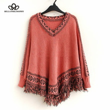 2015 autumn winter vintage ethnic floral tassels fringed pullover knitted cape Poncho