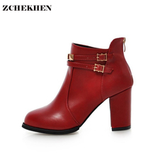 Buy Luxury Designers 2018 Spring Autumn Women Shoes red soft leather High Heels Boots buckle Platform Chunky Ankle Boots for $24.99 in AliExpress store