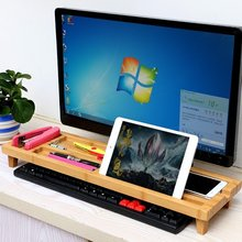 Bamboo Stand Monitor Riser Desktop Organizer Keyboard Fits iMac LCD for Macbook Laptop Display Dock for iPhone Smartphone