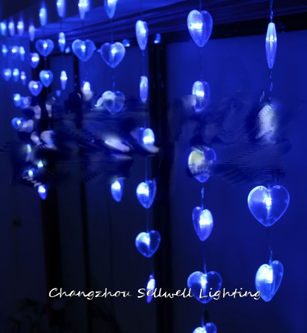 GOOD!LED holiday lighting hotel entrance decoration 90 pcs blue shape of heart bead curtain lamp H145<br>