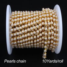 Pearls chain  3mm/4mm/6mm ABS pearl cup chain golden base 10yard/roll  free shipping