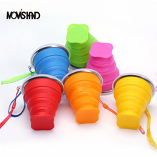 MOM'S HAND 2pcs/lot Silicone Outdoor Travel Retractable Folding bottle Telescopic Collapsible Portable Water bottle with Cover()
