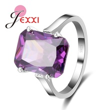 PATICO  Charming Shiny Purple Square CZ Crystal Filled Anillos Finger Ring Wedding 925 Sterling Silver Ring for Bridal