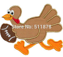 "7"" Large Turkey Football Player Thanksgiving Applique Embroideried Uniform Movie TV Costume Cosplay Embroidered iron on patch(China)"