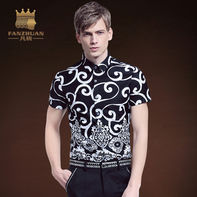 FANZHUAN 2017 New Arrival Summer Collection Floral Shirt Men Printed Short Sleeve Classic Dress Shirts  Fashion Mens Shirt