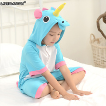 LAISIDANTON Animal Summer Unicorn Stitch Pikachu Onesies Short Sleeved Pajamas Nightgowns Cartoon Pajamas Costume Kids Kawaii