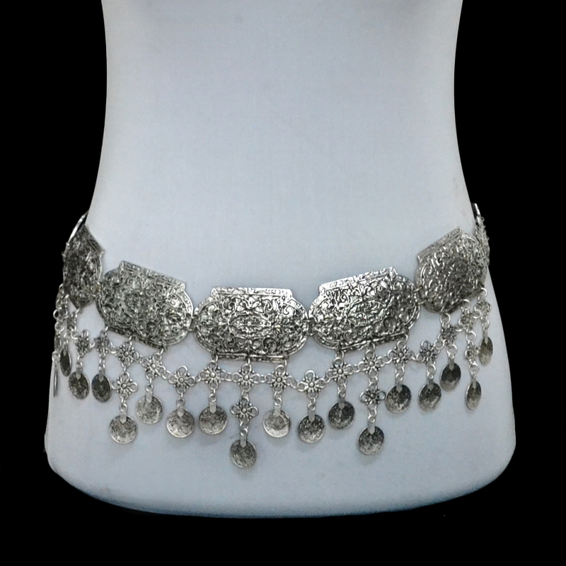 New Fashion Vintage Silver Plated Waist Chain Turkish Gypsy Alloy Coin Belly Body Chain Women Belt Jewelry(China)