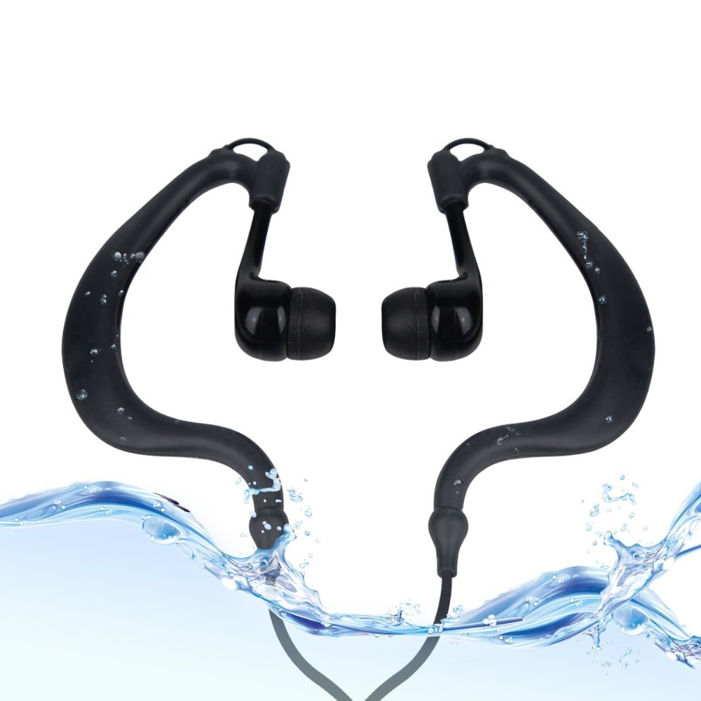 More sport IPX8 Ear Hook Waterproof Noise Cancelling Earphone Stereo for Swimming/Cycling/Running/Hiking/Jogging