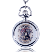 Fashion Small Mini Harry Silver Pocket Watch Necklace Chain Pendant Necklace Potter Smooth Quartz Watch