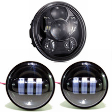 3pcs Black Round 5.75inch 45W  LED Motorcycle Headlight plus 4.5inch LED Fog Lamp For harley Softail Dyna And Sportster Models