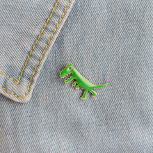 Cartoon Dinosaur Tyrannosaurus rex Brooch Button Pins Denim Jacket Pin Badge for Bag Cute Animal Jewelry Gift for Kids