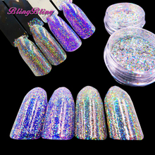 Blingbling Nail Flakes Laser Glitter Fluorescent Powder Iridescent Holographic Nail Glitter DIY Design Nail art decorations(China)