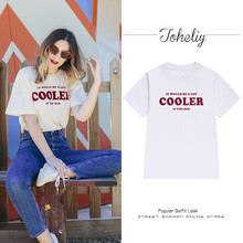 Europe and American women's street letters cooler printing t-shirt women short-sleeved shirt taste retro bf wind jacket summer(China)