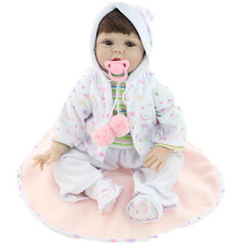 "22"" High Quality Simulation Babydoll Imported Synthetics Wigs Doll Silicone Vinyl Toys Soft Cotton Body Kids Birthday Present"