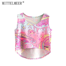 2017 MITTELMEER bare midriff Tank tops Women harajuk Crew Neck Top sleeveless UFO irregular Tanks Summer tops For Ladies(China)