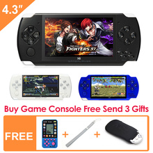 FreeShipping 4.3''Handheld Game Console 8GB Portable Video Game built-in 1200+real reano-repeat free classic games support MP3/4