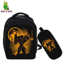 Anime Super METROID Backpack 2 Pcs Sets Children School Bags Zero Suit Samus Fluorescence Printing School Backpack Kids Bookbag(China)