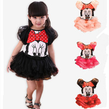 2016 Girl Clothing Set New Summer Fashion Style Cartoon Mouse Printed T-Shirt + Net Veil Dress 2Pcs Girl Clothing Collection