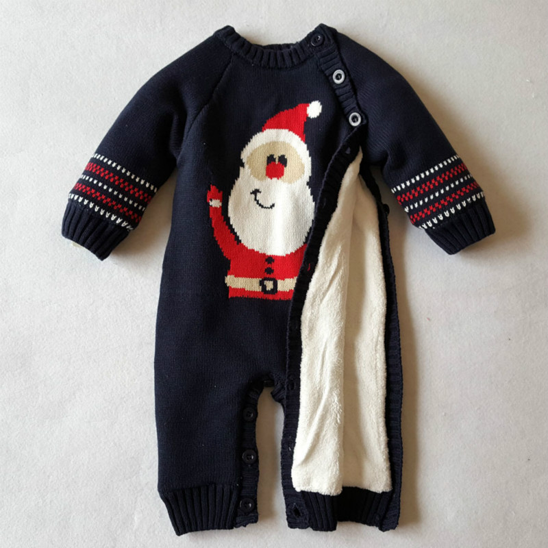 Boys Knitted Sweater Girls Warm Romper Cartoon Christmas Man Outwear Costume Baby Rompers Clothes Newborn Winter Thick Climbing<br>