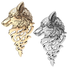 Retro Europe Wolf Head Badge Brooch Lapel Pin Men Women Shirt Suit Accessory New