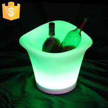 SK-LF09 (L34.5*W34.5*H27.2cm) RGB 16 LEDs Ice Container 16 Color Luminous Plastic Beer Barrel LED Ice Bucket Free Shipping 1pc