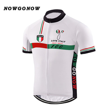 2017 cycling jersey white Italy 100 yeah tour leader Commemorative Edition NOWGONOW bike wear bicycle clothing green red line(China)
