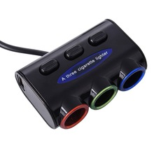 DC 12~24V 3 in 1 Power Adapter Car Cigarette Lighter Socket Splitter Charger Cigarette Lighter Socket Black(China)