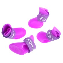 4PCS/set Lovely Dog Shoes Puppy Candy Colors Rubber Boots Waterproof Pet Rain Shoes Size S/M/L Pet Supplies(China)