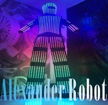 LED Costume/LED Clothing/Light suits/ LED Robot suits/ Luminous costume/ The cost includes stilts568(China)