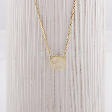 2016 Fashion Brushed Round Circle Necklace Gold Personalized Statement Necklaces for Women Cheap Simple Pendant Necklaces