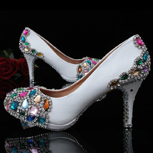 Hand-making white leather colorful gems and rhinestones crystals party dress shoes Wedding Bridal Shoes Nice Bridesmaid Shoes