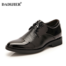 DADIJIER Height increasing 6cm Men Dress shoes Patent Leather Oxford shoes Brown Black Business Shoes Men ST75