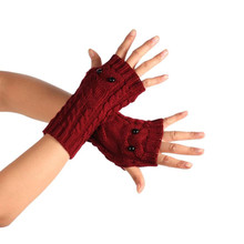 New Hot More Funny Winter Wrist Arm Hand Warmer Knitted Long Fingerless women Gloves Mitten luvas femininas para o inverno(China)