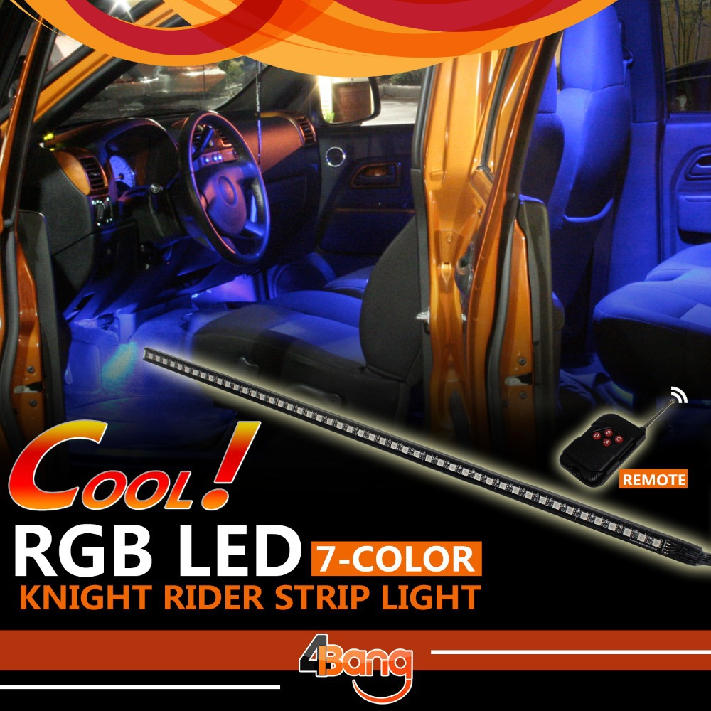 7-Colors RGB Knight Rider Light 56cm 5050SMD 48LED Scanner Strip + Wireless Remote Control For Car Interior Atmosphere Lamp<br><br>Aliexpress