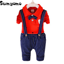 Toddler Baby Boy Formal Clothing Wear Fashion Sets Bow Spring Autumn Boys Clothes Suit 2PCS Children's Infant Clothings 1-4Y(China)